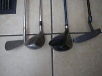 4 CLUBS - VANTAGE TRUE LINE PUTTER; BEN CHARLES S1 APOLLO; WILSON 5 WOOD and DUNLOP BLUE FLAME WOOD.