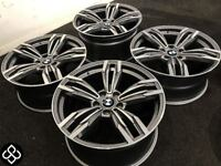 "BRAND NEW 18"" BMW STYLE ALLOY WHEELS - 5 X 120 - FERRIT GREY WITH DIAMOND CUT FINISH - Wheel Smart"