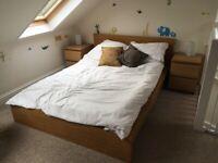 IKEA Malm double bed in oak veneer plus Sultan mattress