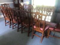 Large solid wood table and chairs