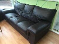 Brown leather sofa