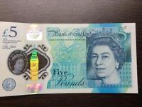 *AA* New £5 Note- Rare