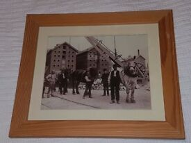Three framed sepia photographs / pictures