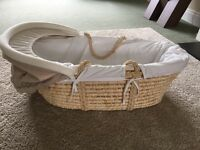 Mama's and papa's Moses basket - with new unused mattress