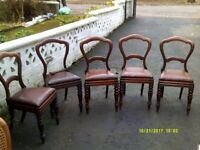 5 antique Victorian 'Balloon' back mahogany dining chairs