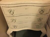 Antique Victorian bow fronted, Bedside Table/ Chest of Drawers.