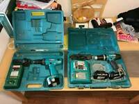 Pair of Makita drill drivers