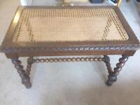 Antique bergere barley twist oak seat/stool