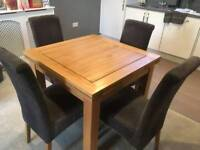 Extendable dining table and chairs - oak furniture land