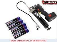 Sealey CPG18V/2 Cordless Grease Gun 18V + 2 Batt + 5 Tubes Grease