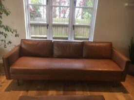 West Elm leather sofa brown color very good condition