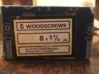 Brass Screws Box of 200 Slotted Countersunk 8 x 1 1/4