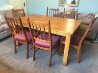 Wooden Dining Table and 8 Chairs H29.5in/75cm D35.5in/90cm W59in/150cm Very good condition R413