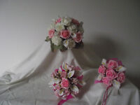 Brides Bouquet with Bridesmaid Posy and Flower Girl Wand