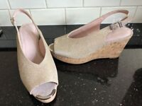 Next gold shimmer wedge sandals size 5 unworn