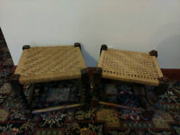 2x Antique Woven Wooden Footstools