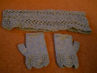 New Hand Knitted Scarf and Fingerless Mitts