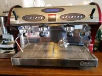 Carimali Kicco commercial 2 group Red Espresso coffee machine.