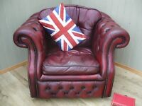 Stunning Oxblood Leather Chesterfield Club Chair.
