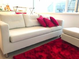 Osaka Faux Leather Chaise Sofa White