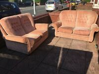 SOFA TWO SEATER SET OF TWO IN GOOD CLEAN CONDITION ON WHEELS EASY MOVE DELIVER