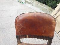 Old leather chairs.