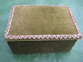 Brand New Hand Made Green Velvet Jewellery Box for £5.00