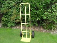 "Upright Metal Hand Truck, 52"" Tall with 10"" Pneumatic Tyres, 3 Point Handle, Fully Assembled"