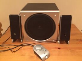Logitech Z3 Multimedia 2.1 PC Speakers Satellite Subwoofer Bass Control Pod Ex Condition