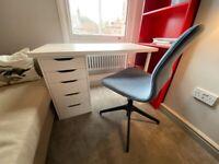 White / Wood Office Desk w/ Drawers (IKEA: LINNMON / ALEX)