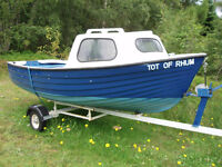 12ft fibreglass boat with cuddy, trailer, outboard, very good order