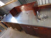 Stainless steel catering worktable,restaurant , kitchen unit.