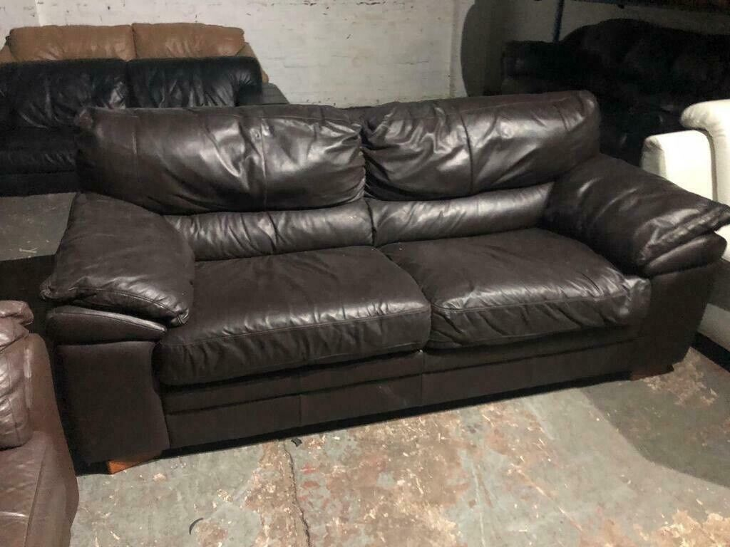 Real Leather Sofa 3 Seater In Good