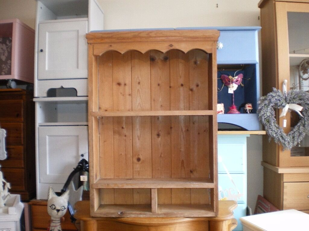 Vintage Antique Pine Wall Shelf Plate Rack In Poole