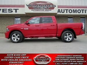 2014 Dodge Ram 1500 SPORT CREW 4X4, NAV,SUNROOF,LEATHER,LOW KMS!