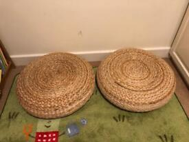 Stackable wicker stools & cushions