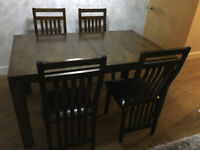 Dining Table With 4 Chairs - Dark brown solid wooden also extendable