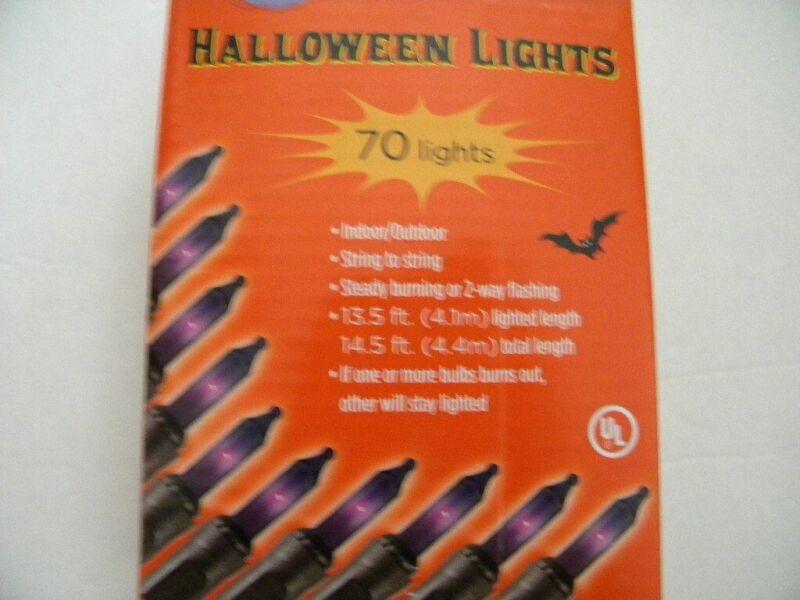 Halloween 70 PURPLE Mini lights Steady Burning or Flashing 70cnt