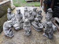 stone/concrete wind in the willows garden ornaments/figures - animal ornaments - £12 each