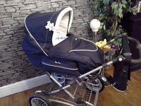 Silvercross Deluxe pram pushchair with handmade bedding set