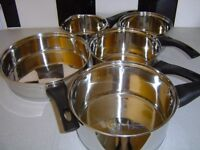 NEW ETHOSCOOK HELL'S KITCHEN STAINLESS STEEL PAN SET AND MATCHING STEAMER & STOCK POT
