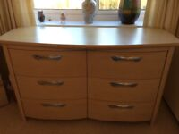 6 drawer chest and matching 3 drawer bedside cabinet in light cream maple matt finish