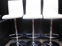 Breakfast Bar White Fully Adjustable Chairs x 3