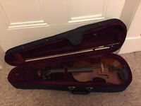 3/4 size wood violin with bow and case
