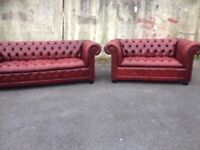 Red Leather Oxblood Chesterfield sofa's - Suite - Settee's. Button down and back very rare set