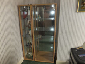 Display cabinets, mirror backed with internal lighting