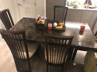 Luxury marble dinging table with 6 chairs