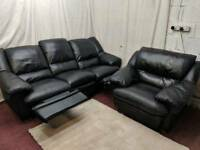 Black leather 3 seaters manual recliner with single chair
