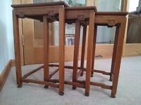 Nest of tables, set of three light oak side tables in oriental style circa 1930s
