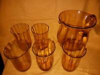 Vintage Jug and 5 glasses